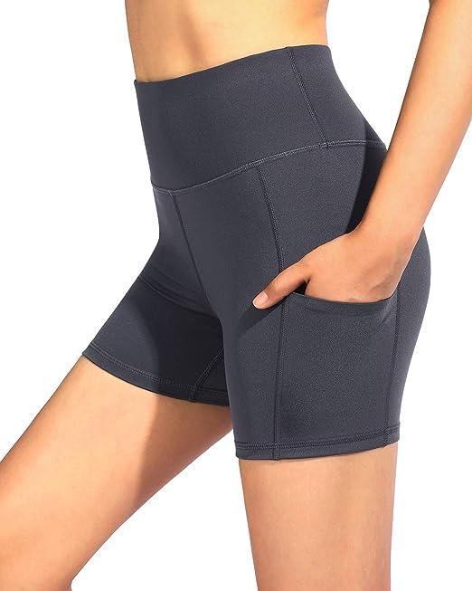 icyzone Damen Kurze Sporthose Laufshorts Hohe Taille Yoga Fitness Shorts Leggings mit Tasche