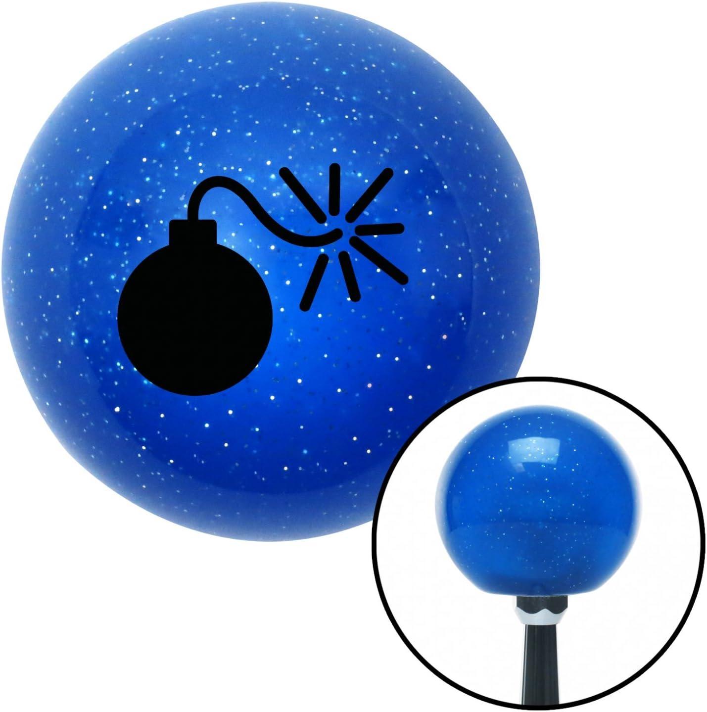 American Shifter 26499 Blue Metal Flake Shift Knob Black Bomb