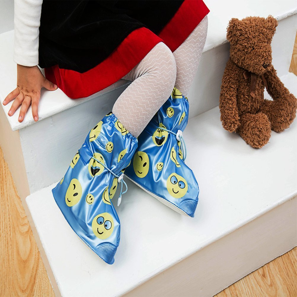 Rain Shoes Cover for Boys and Girls Cute Waterproof Slip-Resistant Kids Cycling Overshoes