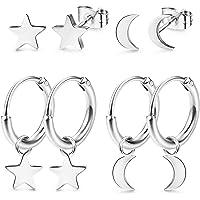 LOLIAS 4 Pares Acero inoxidable Pendientes Aro para Mujeres Niñas Pendientes Pequeños Aretes Estrella Luna Piercing Stud…