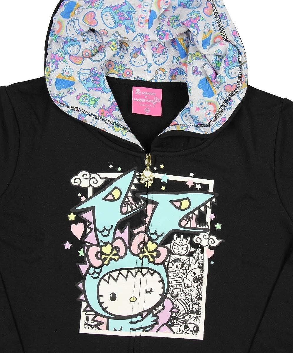 4c9a60ac4 Amazon.com: Tokidoki x Hello Kitty Womens' Kawaii Kitty Kaiju Hoodie Jacket  (Small): Clothing