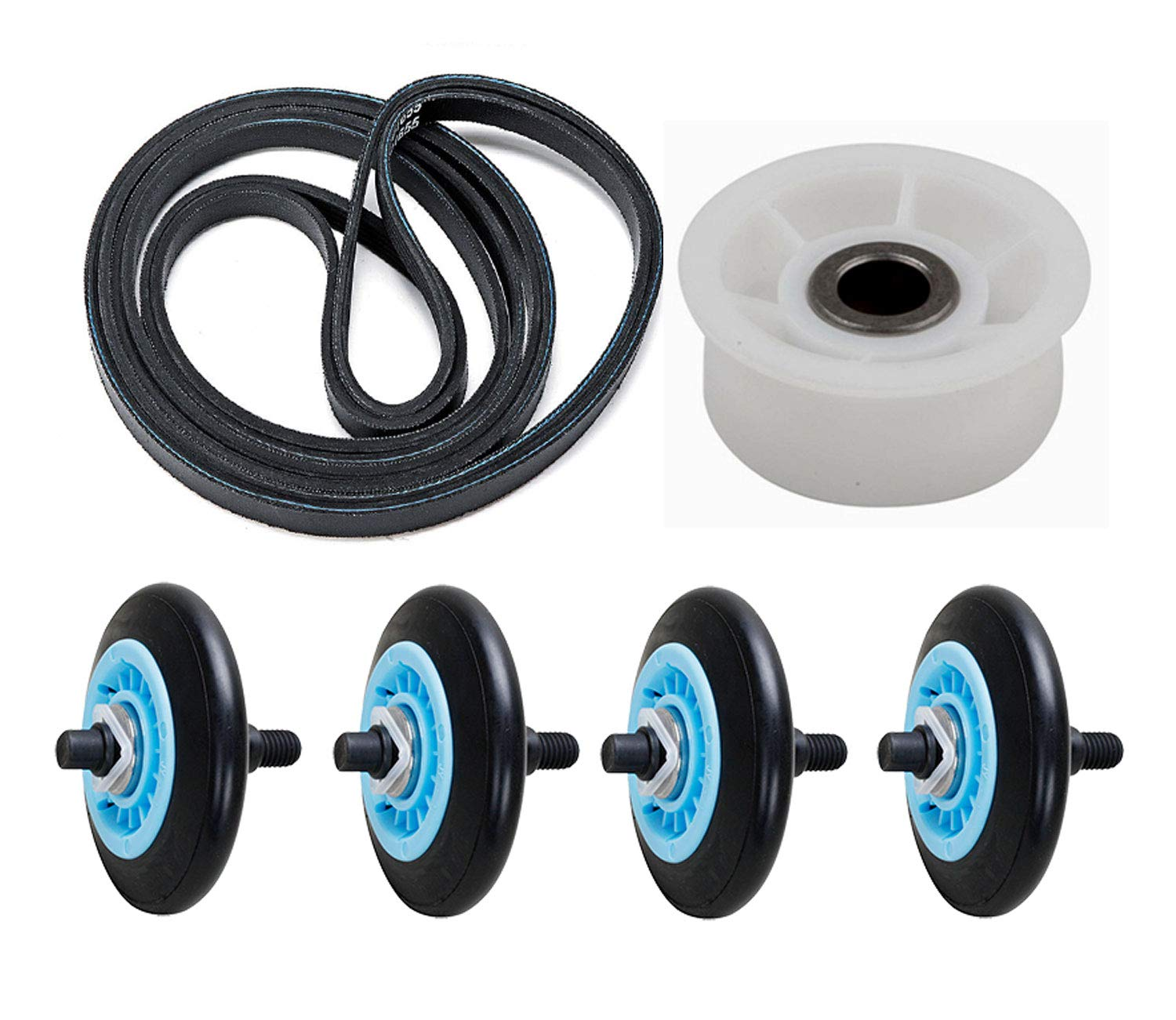 Dryer Roller Belt Idler Wheel Kit that works with Samsung DV45K6200EZ/A3 (0000)