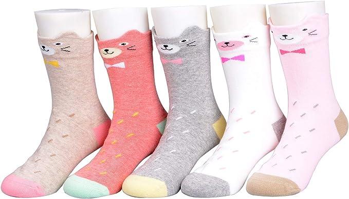 Calcetines de niña 5 pares de calcetines de algodón para niños de ...