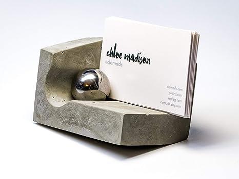 @clomads - Soporte para tarjetas de visita de hormigón para escritorio con imán y bola