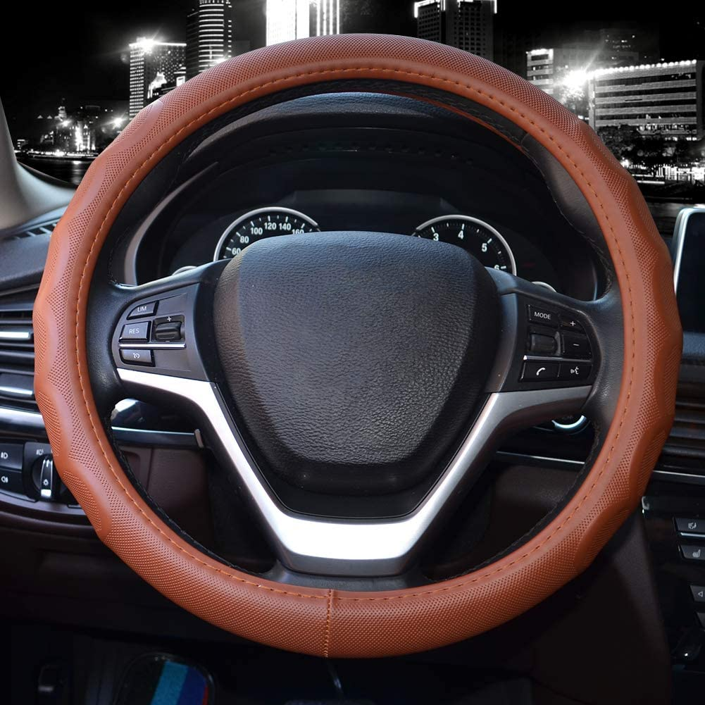 Valleycomfy Steering Wheel Covers Universal 15 inch Genuine Leather