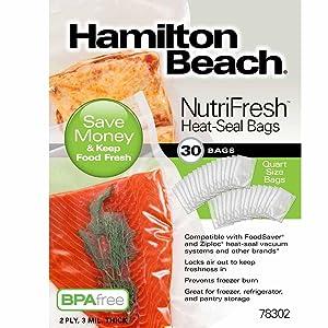 Hamilton Beach NutriFresh Heat Vacuum Sealer, 30 Quart Bags (78302)
