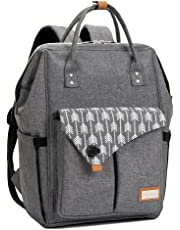 Lekebaby Diaper Bag Backpack Multi-function Waterproof Travel Backpack Baby Nappy Bag for Mom and Dad with Changing Pad & Insulated Pockets & Stroller Straps (Grey)