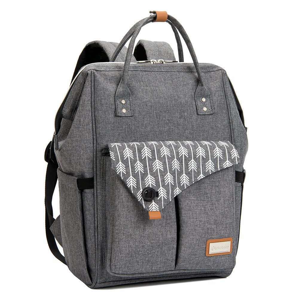 Lekebaby Multi-function Baby Diaper Bag Backpack Waterproof for Mom and Dad in Grey with Changing Pad & Insulated Pockets & Stroller Straps (Grey)