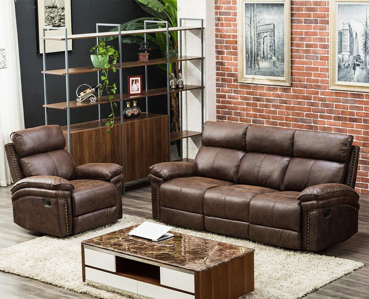 Amazon.com: Sectional Recliner Sofa Set 3-Seat Recliner Chair ...