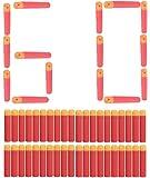 Bullets, ZJchao 60 Pieces Refill Darts 9.5 cm Ball Blaster for Nerf Bars N Strike Mega Centurion Toy Gun (Red)