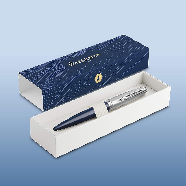 Punta Media con Ricarica di Inchiostro Blu Confezione Regalo Grigia con Finiture Cromate Waterman Embl/ème Penna a Sfera Deluxe