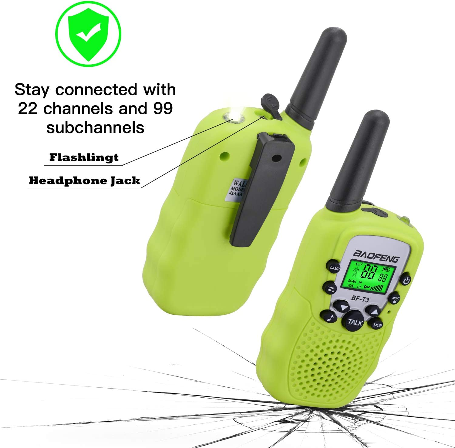 BYBOO Baofeng T3 Kids Walkie Talkies Mini Two Way Radios for Boys Girls Children UHF 462-467MHz Frquency 22 Channels 1 Pair Blue