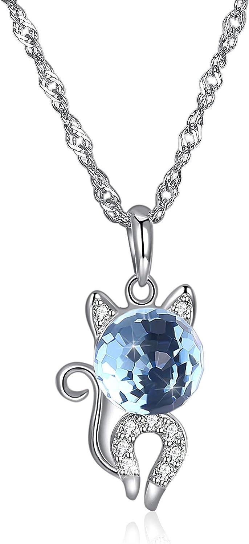 EdorReco Collar de Cristal Chica Gato Cadena de Plata Colgante Delicado Personalizado