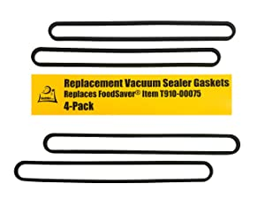 FoodSaver Upper and Lower Gasket Assembly Replacements (4 Foam Gaskets) - Fits V2200, V2400, V2800, V3000, V3200 Series Vacuum Sealers (Replaces Food Saver T910-00075) by OutOfAir