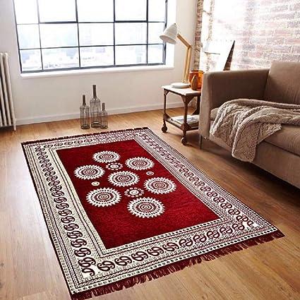 SinghsVillas Decor SINGHS MART Velvet Carpet for Living Room Size- 5 feet X 7 ft, Maroon