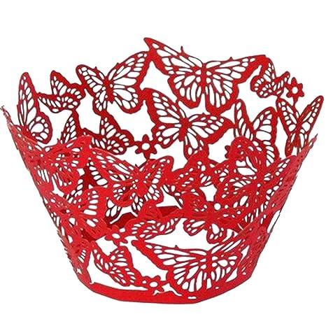 etaill envoltorios para magdalenas tazas para tartas – 108 pcs mariposa filigrana de encaje Vine Bake
