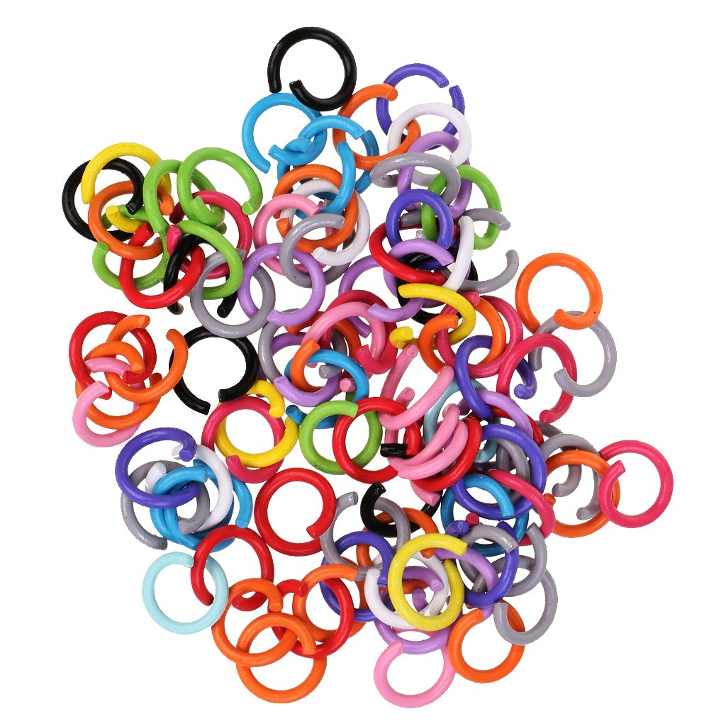 MagiDeal Pack of 100 Assorted Color Open Jump Split Rings Findings Tools for Jewelry Making 7mm