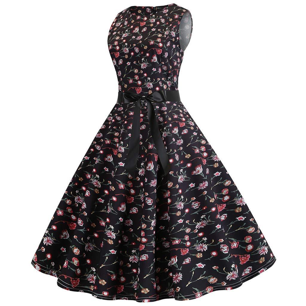 Xavigio_Women Dresses Women's Retro Boatneck Sleeveless Vintage Tea Dress with Belt A-Line Dresses by Xavigio_Women Dresses (Image #2)