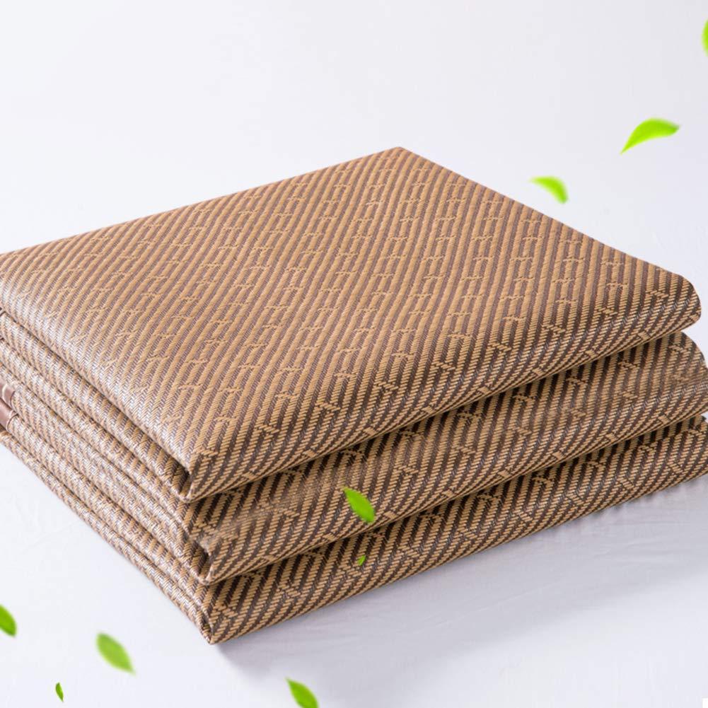A Twinch2 Summer Sleeping Pad Double-Sided Rattan Ice Silk Mat Folding Bamboo Mat Mattress Topper Pad-a Twinch2
