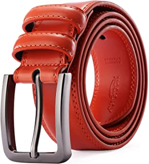 Mens Belt - Autolock Genuine Leather Dress Belt - Classic Casual Belt for Men in Gift