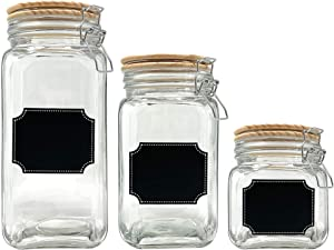 Glass Canister Food Storage Set of 3 with Airtight Wood Lids and Chalkboard Labels, Clear Container for Farmhouse Rustic Kitchen Decor (Set of 3)