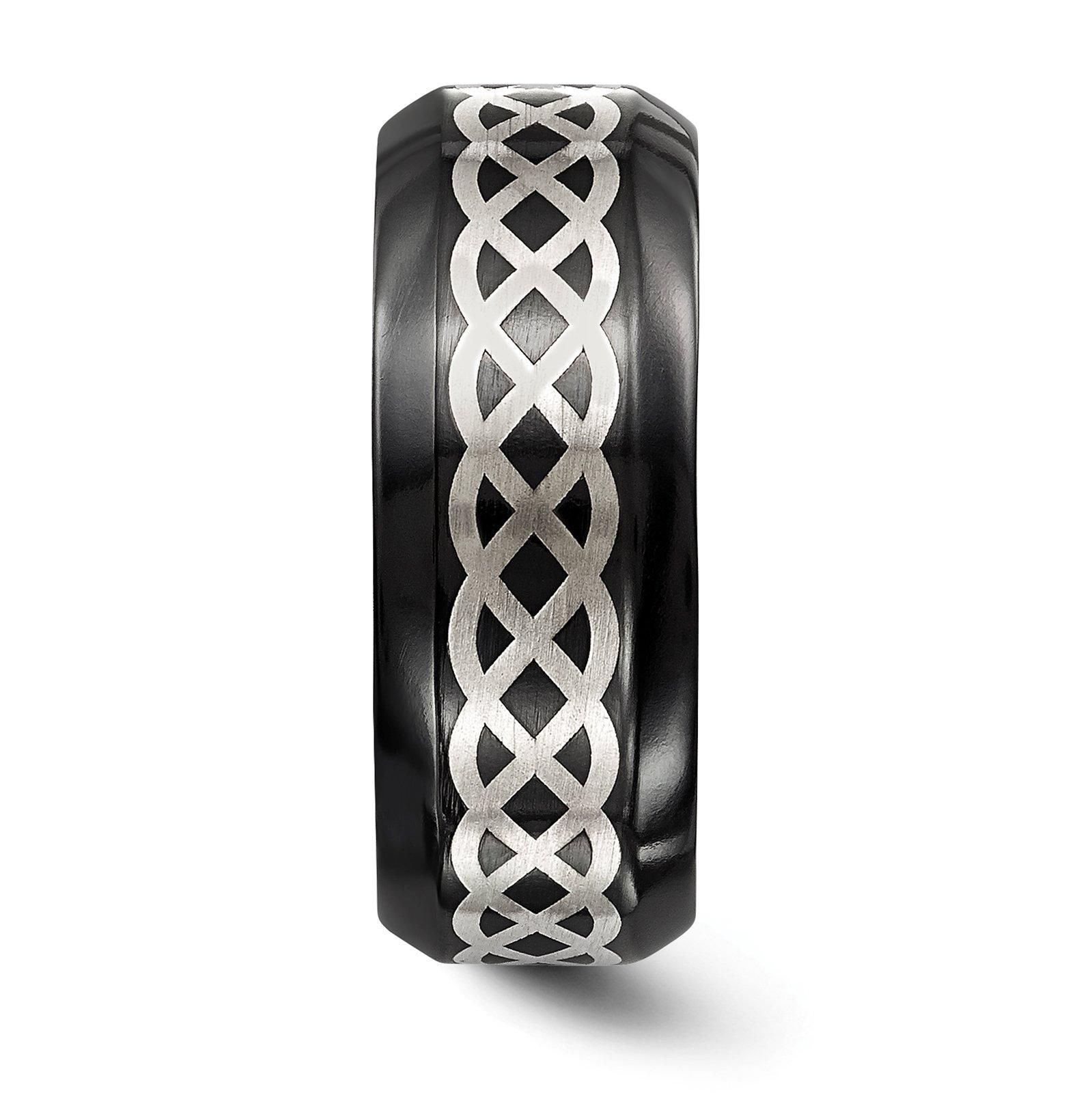 Titanium Black Ti w/Sterling Silver Inlay Celtic Design 9mm Wedding Band Size 10.5 by Edward Mirell by Venture Edward Mirell Titanium Bands (Image #3)