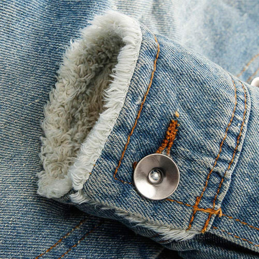 GoodLock Clearance! Mens Fashion Denim Hooded Coats Autumn Winter Pocket Button Rinsing Flick Jacket Coats