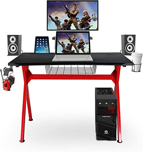 Gaming Desk Multi-Function Computer Gaming Table Racing Desk with Cup Holder and Headphone Hook for Home Office