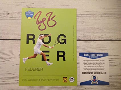 191adc678 Roger Federer Signed Autographed 5x7 Player Card Beckett BAS COA g ...