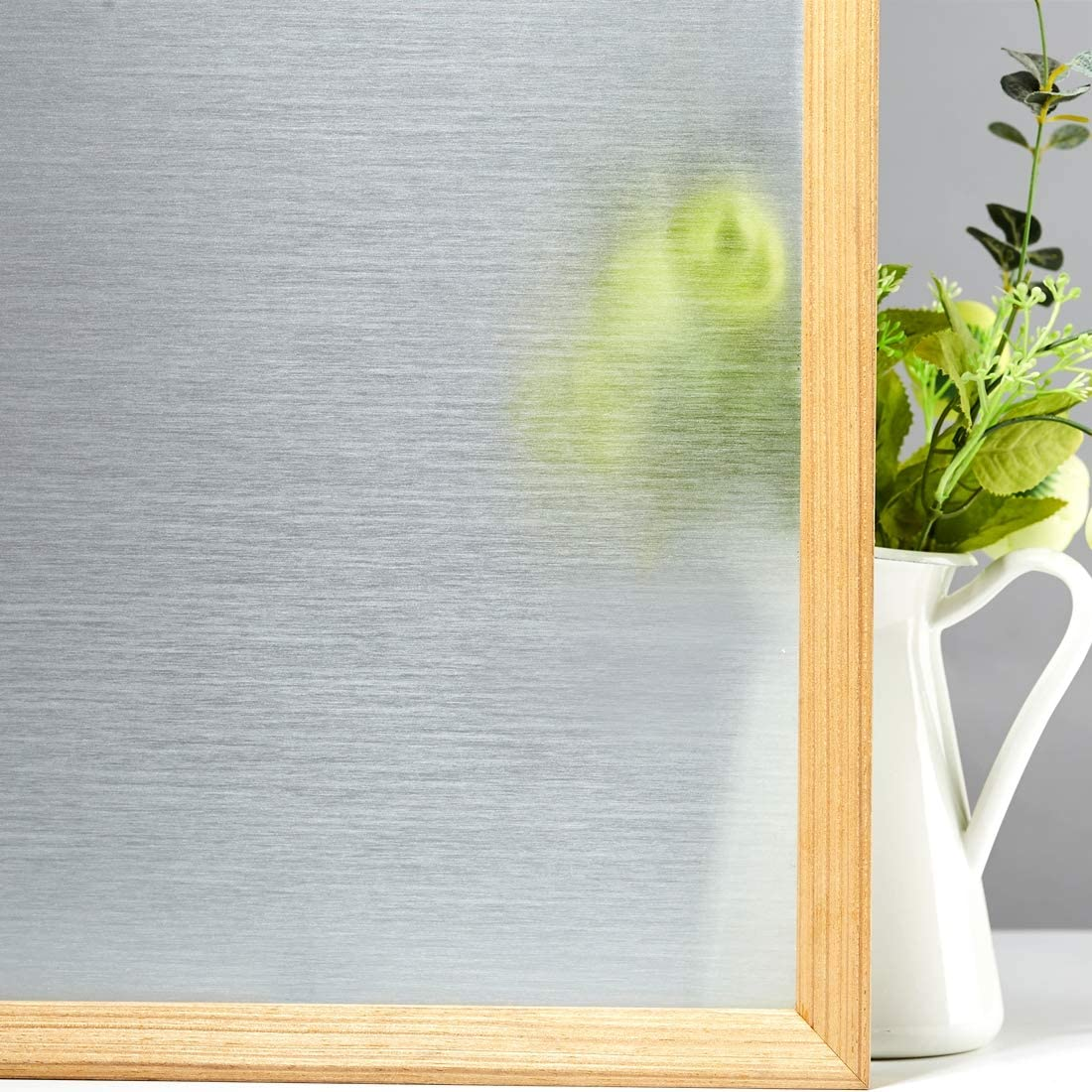VELIMAX Static Cling Window Privacy Film Silk Textured Window Clings Tint Decorative Window Sticker Non Adhesive for Glass Heat Control Silk Translucent, 35.4n x 13ft