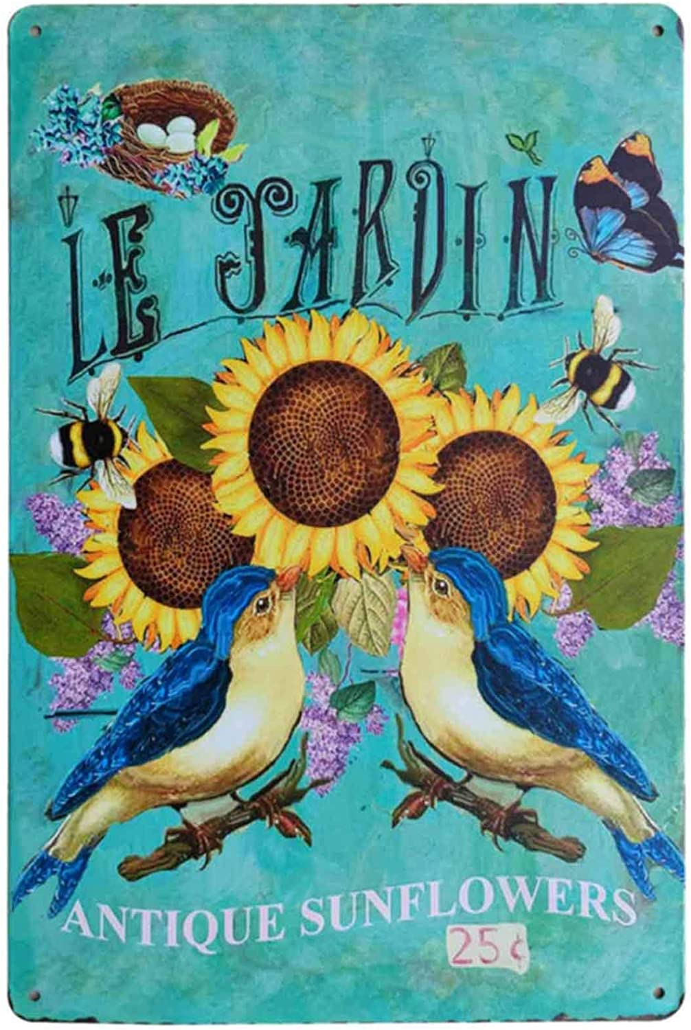 TISOSO Rustic Sunflower Butterfly Birds Le Jardin Vintage Metal Sign Garden Themed Farmhouse Home Decor Bathroom Decorative Signs Plaques 8X12Inch
