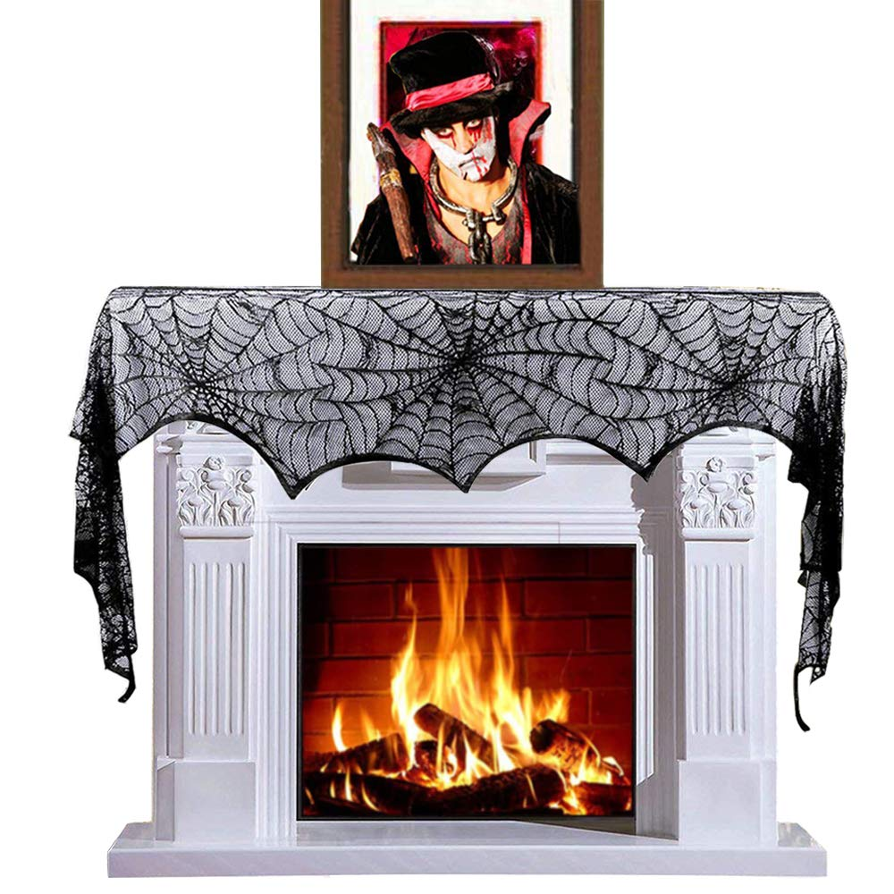 Halloween Decoration Black Spider Web Fireplace Mantle Scarf Cover for Halloween Party, Halloween Table Runner, Mysterious Festive Party Supplies, 18 x 96 Inch Focushow