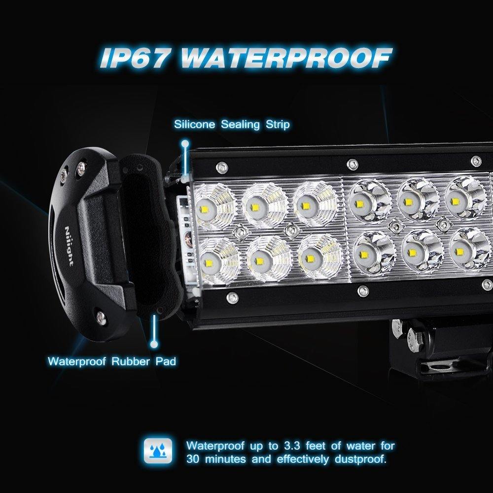 Nilight Zh006 Bar 20inch 126w Spot Flood Combo Led Off Road Lights Waterproof Wiring Harness With 16awg