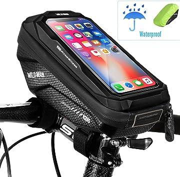 WACCET Bolsa Manillar Bicicleta Impermeable Soporte Movil Bici con Pantalla Táctil, Portamoviles Bicicleta Soporte Telefono Móvil Bolsa Movil Bici para Smartphones de hasta 6,5: Amazon.es: Deportes y aire libre
