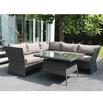 Amazon.de: Eck-Lounge-Gruppe Gartenmöbel-Set Aluminiumgestell ...