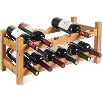 HOMFA Casier à Vin Étagère à Bouteille Casier à Bouteille 2 Etages de 12 Bouteilles Étagère à Vin Horizontale en Bambou 60*24*25cm