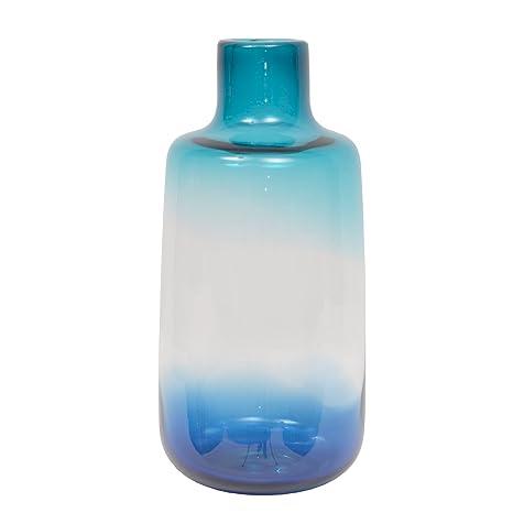 More Design jarrón, Cristal, Azul/Transparente, 13,5 x 13,5 ...