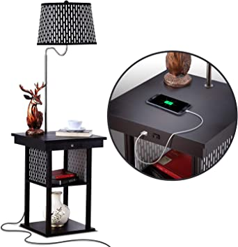 Amazon Com Brightech Madison Narrow Nightstand With Built In Lamp Usb Port Shelves For Bedrooms Mid Century Modern End Table Attached Floor Lamp For Living Rooms Side Table