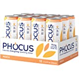 Phocus Caffeinated Sparkling Water - Clean Energy with Caffeine + L-Theanine Peach - 0 Sugars, Calories or Carbs - Non GMO, W
