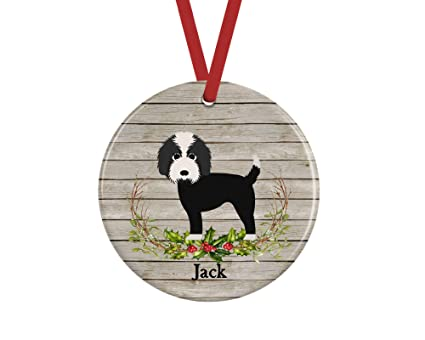 Georgia Barnard Personalized Labradoodle Ornament, Black and White Doodle  Dog Gifts Keepsake, 3