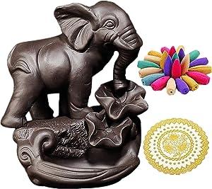 Purple Sand Home Decor Elephant Censer Backflow Incense Ceramic Burner Home Office Decor