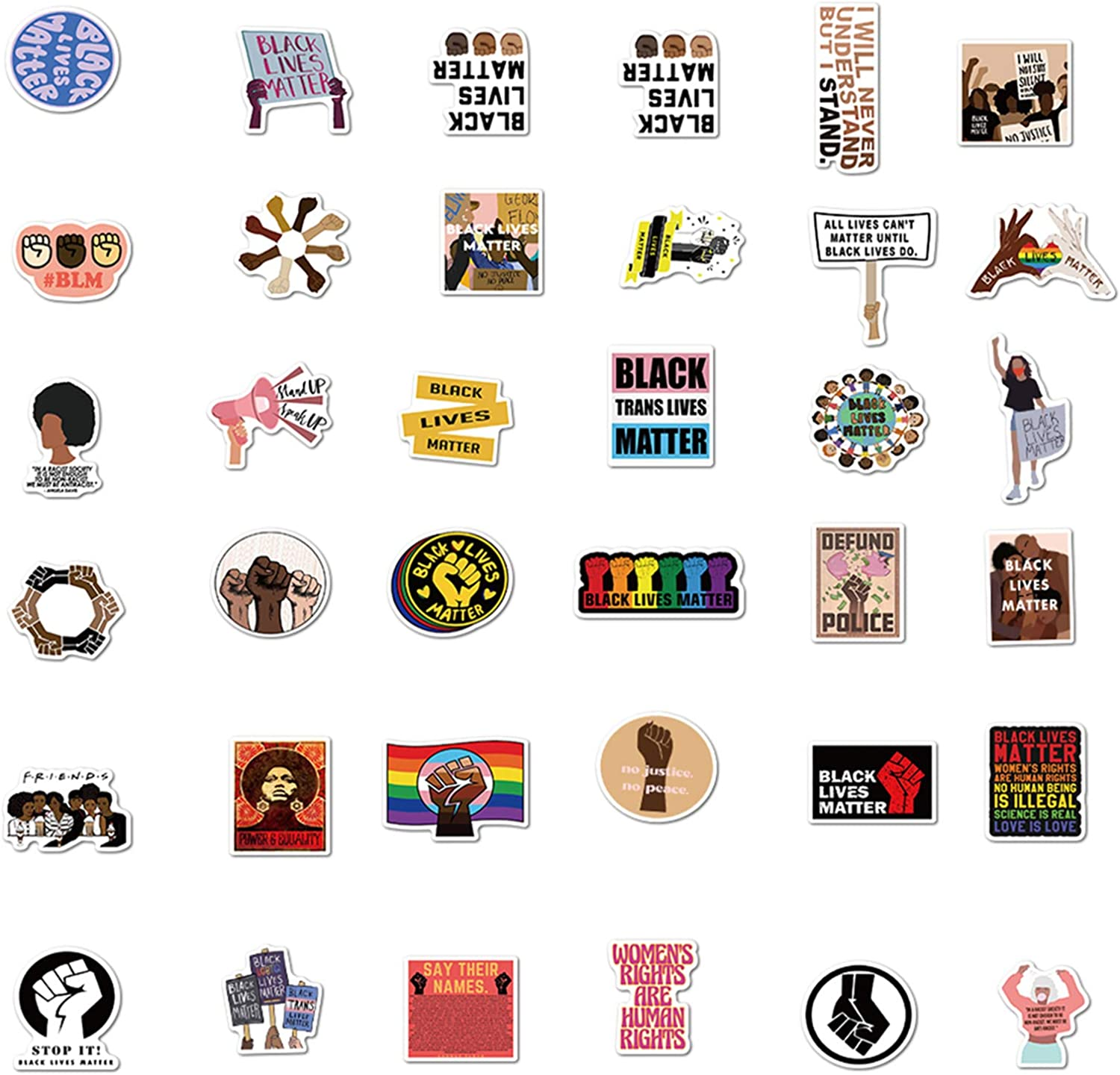 50pcs Black Lives Matter Stickers WROS Human Rights Female Independence Stickers Waterproof Vinyl Stickers for Boys Teens Black Lives Matter