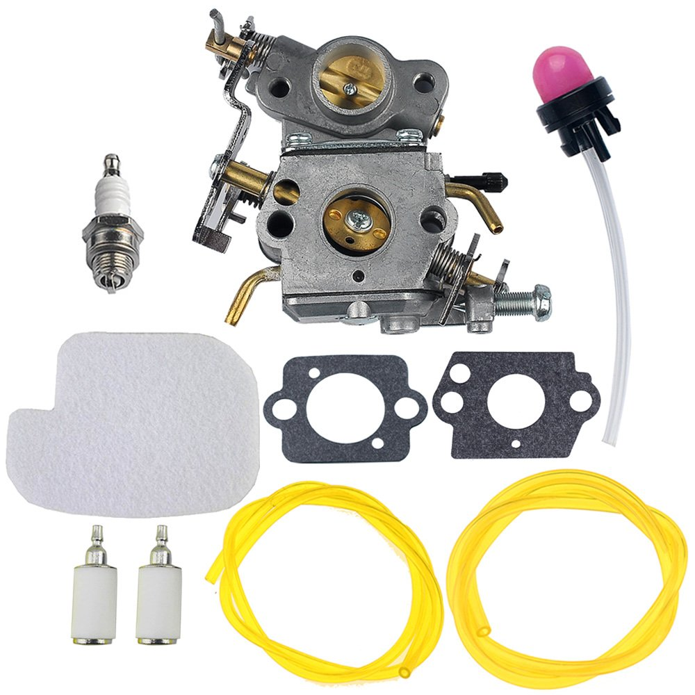 HIPA C1M-W26 Carburetor with 530057925 Air Filter Fuel Line Filter Tune-up Kit for Poulan P3314 P3416 P3816 P4018 PP3416 PP3516 PP3816 PP4018 PPB3416 PPB4018 PPB4218 S1970 Power Gas Chainsaw by HIPA