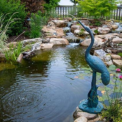 Amazon Com Aquascape 78314 Standing Crane Pond And Garden Water Fountain Patina Garden Outdoor