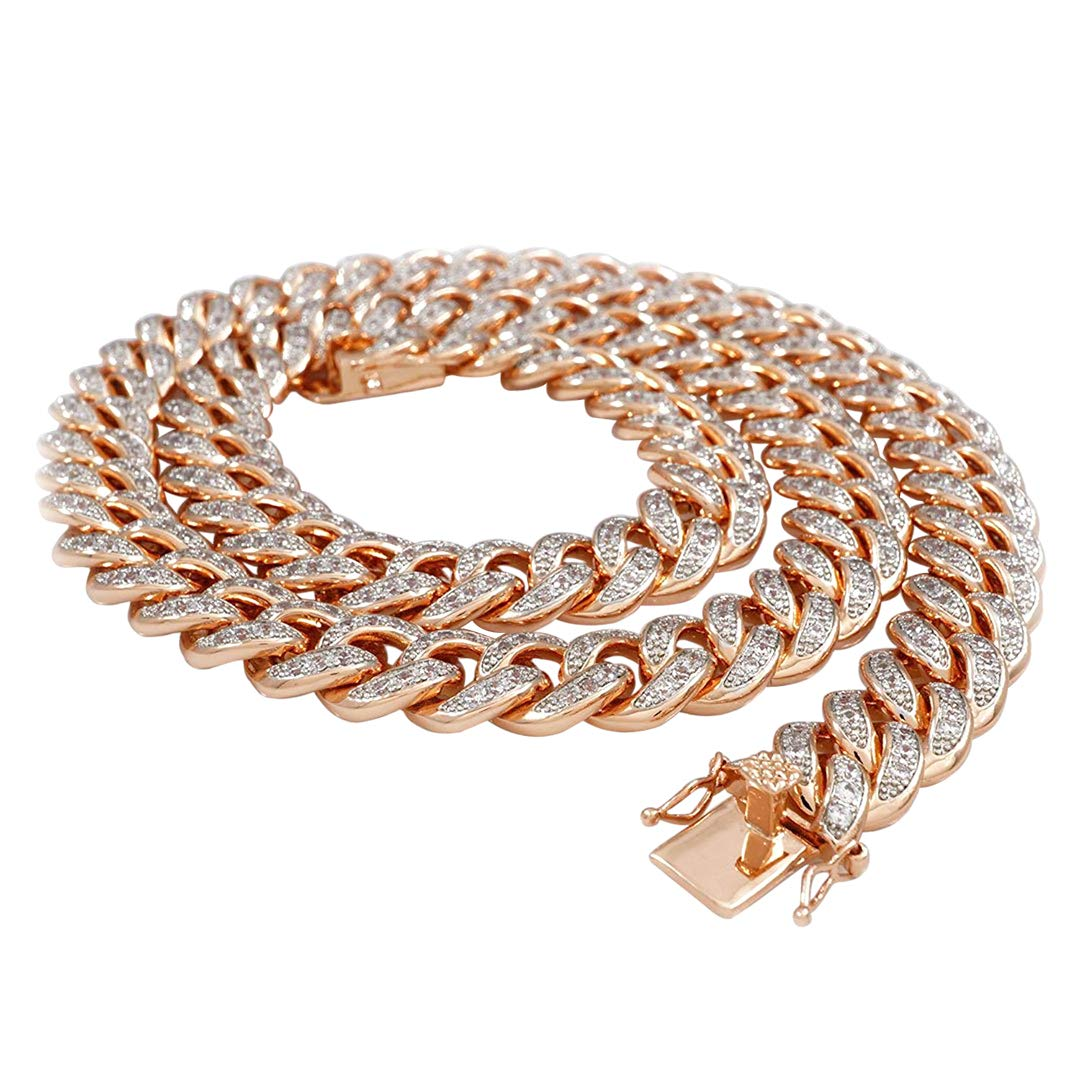 2f2d824991ad7 NIV'S BLING 18k Rose Gold-Plated Cubic Zirconia Cuban Miami Link Chain -  24-36 Inches