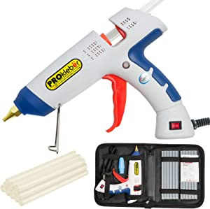 PROkleber Hot Melt Glue Gun Kit Full Size 100 Watt with Carry Bag and 12 pcs Glue Sticks, for DIY, Arts & Crafts Projects, Sealing, Quick Repairs, Light and Heavy Duty, Home, Office (White/Blue)