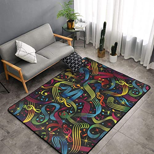 O-X_X-O Rock On Bright Music Notes Area Rug Non-Skid Comfy Home Decorate Floor Area Rug Machine Washable Carpet