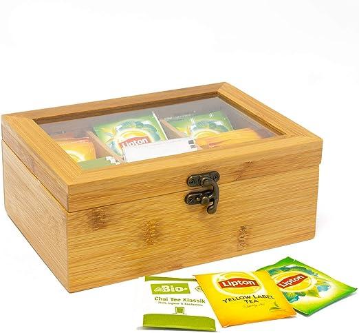 Jonas Caja Infusiones y Tés Madera de Bambú con 6 compartimentos ...