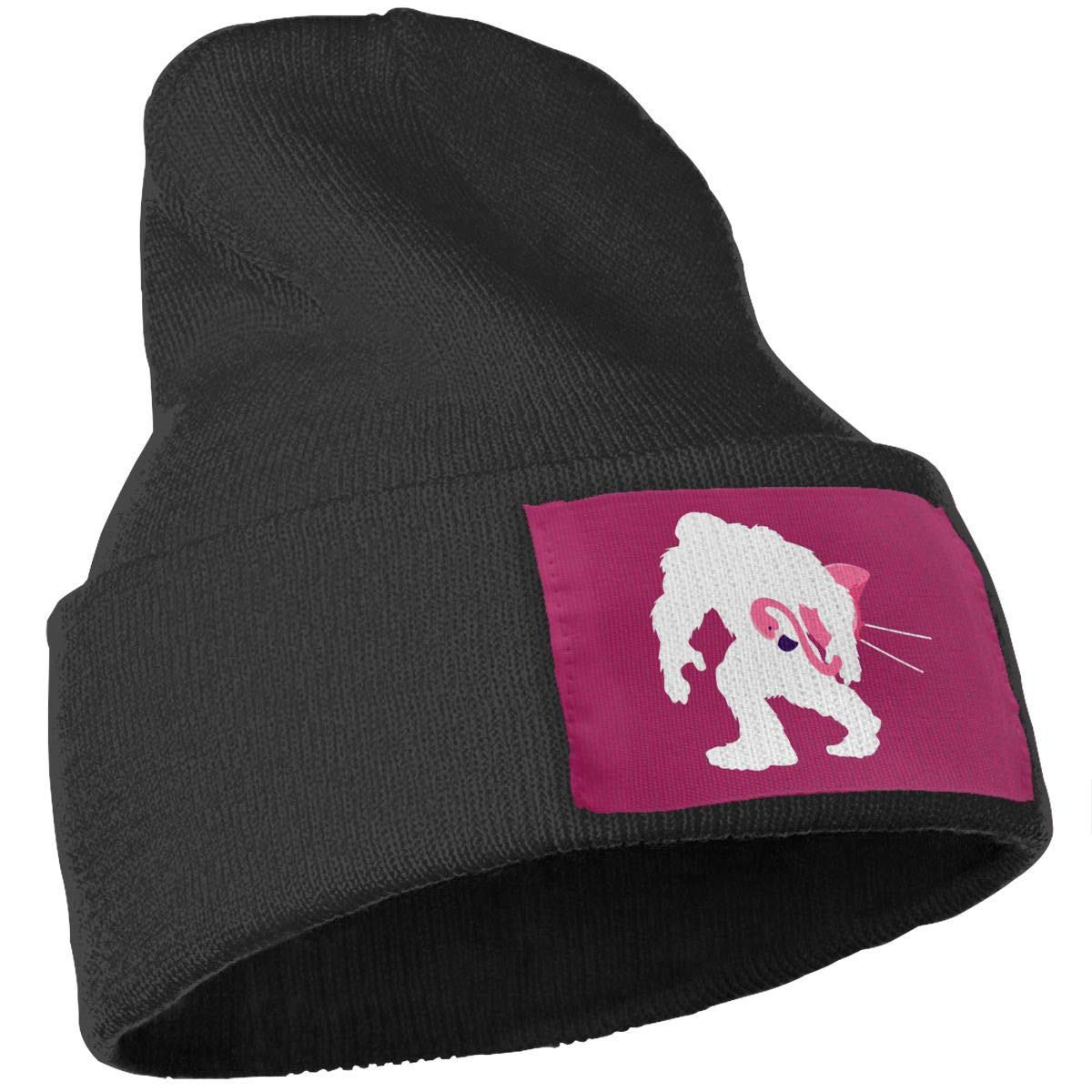 Bigfoot and Lawn Flamingo Winter Knitted Caps for Women Men Soft Warm Knit Hat
