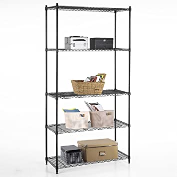 SUNCOO Wire Shelving Unit Storage Rack Metal Kitchen Shelf Stainless Steel  Adjustable 5 Tier Shelves Black